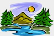 John Muir logo - lake, trees, mountain and sun